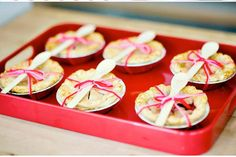 Miniature apple pies for wedding or shower favors