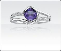 Amethyst & Diamond Birthstone Ring