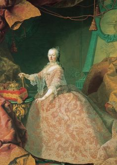 Maria Theresa of van Meytens Maria Theresia of Austria at the Age of her right are the three crowns of the Holy Roman Empire, Hungary and Bohemia. Marie Antoinette, Christus Pantokrator, Impératrice Sissi, Kaiser Franz, Maria Teresa, Holy Roman Empire, Queen Of England, European History, Ancient History