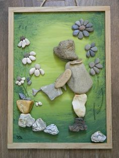 Stone Crafts, Rock Crafts, Diy Arts And Crafts, Creative Crafts, Fun Crafts, Crafts For Kids, Stone Pictures Pebble Art, Stone Art, Pebble Painting