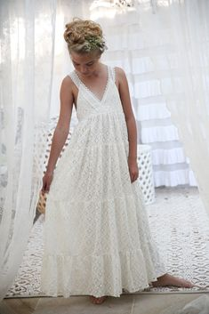 Amelie Limited edition Lace Maxi Special Occasion Dress from Tea Princess Little Girl Dresses, Dresses For Teens, Girls Dresses, Flower Girl Dresses, Flower Girls, Barefoot Wedding, Wedding With Kids, Wedding Ideas, Mermaid Outfit