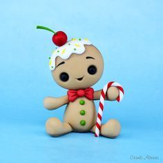 Kawaii Gingerbread Man fondant / polymer clay tutorial