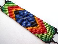 Mexican Huichol Loom Beaded peyote bracelet by Aramara on Etsy