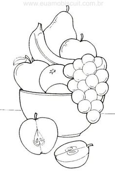 fruit basket coloring pages Art Drawings For Kids, Drawing For Kids, Easy Drawings, Art For Kids, Fruit Coloring Pages, Coloring Book Pages, Coloring Pages For Kids, Drawing Lessons, Art Lessons