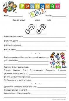 La rentrée - introducing yourself - first day of school presentation First Day Activities, Back To School Activities, Writing Activities, French Teacher, Teaching French, Beginning Of School, First Day Of School, High School French, Core French