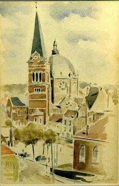 File:1943 église de Saint Job à Uccle aquarelle par Léon van Dievoet 11 juin 1943.JPG