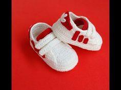 Crochet Sandals, Booties Crochet, Crochet Shoes, Crochet Baby Socks, Crochet Baby Clothes, Baby Knitting, Baby Shoes Pattern, Shoe Pattern, Adidas Baby
