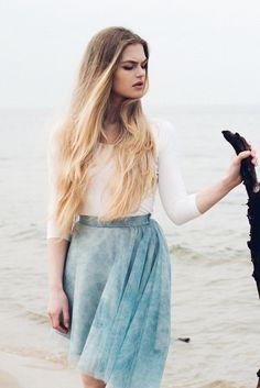 Vestidos de novia - Asymmetric skirt S078. Marble jeans. - hecho a mano por Fanfaronada en DaWanda