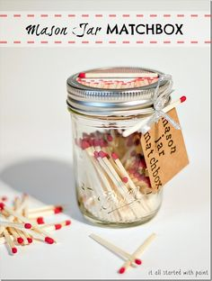 Mason jar craft and gift idea. Create a mason jar matchbox. Great for camping to keep matches dry. Includes full diy on how to make and supplies used. Uses For Mason Jars, Cheap Mason Jars, Mason Jar Gifts, Mason Jar Diy, Diy Father's Day Gifts Easy, Father's Day Diy, Diy Gifts, Handmade Gifts, Bottles And Jars