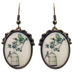 Caged Earrings – ASK ALICE by All Gifts Online All Gifts, Online Gifts, Cage, Pocket Watch, Alice, Birds, Earrings, Accessories, Ear Rings