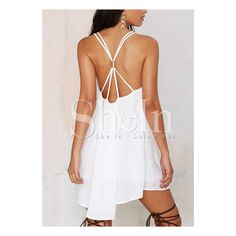 SheIn(sheinside) White Spaghetti Strap Backless Dress (100 HRK) ❤ liked on Polyvore featuring dresses, white, white shift dress, white backless dress, short white dresses, white beach dresses and sleeved dresses