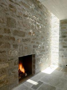light, stone fireplace