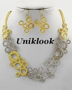 Totally Simple Fabulous Gold & Silver bubble Design Fashion Jewelry Necklace Set