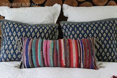 bohemain-textured-pillows - kilim style made from inexpensive rag rugs... (don't cut - stuff and seal with fabric glue)