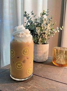 Personalized Starbucks Cup, Custom Starbucks Cup, Starbucks Tumbler, Yellow Smiley Face, Glass Coffee Cups, Shot Glass Set, Reusable Cup, Cute Cups, Rainbow Swirl