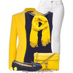 Navy & Yellow, created by mhuffman1282 on Polyvore