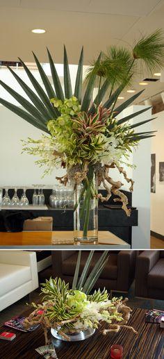 Papyrus, Pink mini pineapples, Mint Ice cymbidiums, white dendrobiums, gray palm, coconut fiber