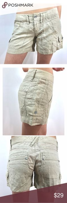 Joie Khaki Linen Shorts These preloved size 2 shorts are great for hot weather. The lightweight linen and beige color will help keep you cool. It has plenty of pockets: 2 in front, small cargo pockets on the sides, and rear pockets. Preloved items have normal wear and tear. 100% linen. Pairs well with linen halter. Buy both for $52. Joie Shorts