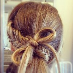 Gorgeous! Fishtail one side, wrap it around remaining hair & end it with a bow.