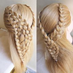 Waterfall/woven braid and a lace braid