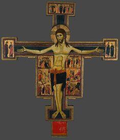Христос Триумфатор. Крест-Распятие, с евангельскими сценами и избранными святыми. 1230-1240гг