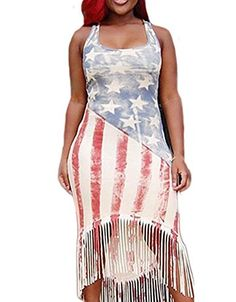 RedExtend Women Retro USA Flag Print Tassel Round Neck Cocktail Bodycon Dress >>> Check this awesome product by going to the link at the image.  This link participates in Amazon Service LLC Associates Program, a program designed to let participant earn advertising fees by advertising and linking to Amazon.com.