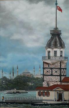 Kız Kulesi Turkey Country, Istanbul City, Art Basics, Simple Acrylic Paintings, Hagia Sophia, Dream City, Phone Backgrounds, Cartoon Styles, Holiday Travel