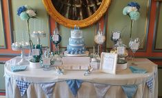 Our Blue & White sweet table for Henry's Christening with a pretty bunting theme