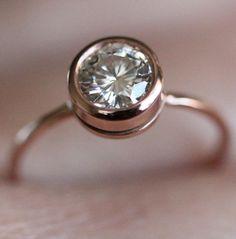 Moissanite In 14K Gold Engagement Ring