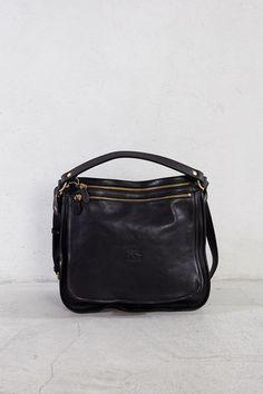 6f3c68ef7a05 Black Double Zip Shoulder Bag by Il Bisonte
