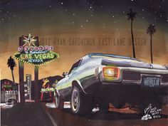 1970 Chevy Chevelle In Las Vegas (Painting) by FastLaneIllustration.deviantart.com on @deviantART