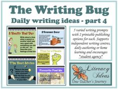 Writing Resource THE WRITING BUG 4 - daily... by One Teacher's Journey | Teachers Pay Teachers Writing Genres, Daily Writing Prompts, Writing Lessons, School Resources, Teaching Resources, Distance Learning Programs, Writing Motivation, Motivational Stories, Informational Writing