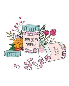 'Allergic to mornings' printable wall art - free download!