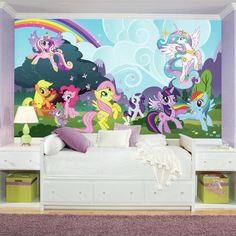 Room Mates Prepasted My Little Pony Ponyville XL Chair Rail Ultra-strippable Wall Decals