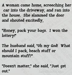 Woman Wins The Lottery Then Shocks Her Husband By Saying This... funny jokes story lol funny quote funny quotes funny sayings joke hilarious humor stories marriage humor funny jokes