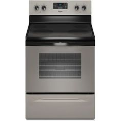"""Whirlpool WFE510S0AD 30"""" Freestanding Smoothtop Electric Range with 4 Radiant Elements  4.8 cu. ft. Self-Cleaning Oven  Custom Broil and Storage Drawer: Universal Silver Deals Discount : image"""