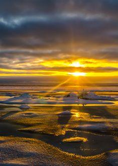 Golden sunset in Varbla beach. Estonia 2016.