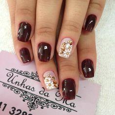 Diseño uñas #flores #rojovink