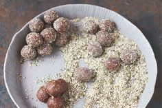 Tasty energy balls with Medjool dates. This recipe is an extract from Everyday Super Food by Jamie Oliver, published by Jamie Oliver Enterprises Limited Everyday . Jamie Oliver, Raw Food Recipes, Cooking Recipes, Healthy Recipes, Easy Recipes, Cooking Dishes, Fodmap Recipes, What's Cooking, Sugar Free Desserts