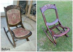 Antique Folding Nursing Rocking Chair Boho Funky Upholstery