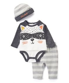 White & Black Raccoon Bodysuit Set - Infant | zulily