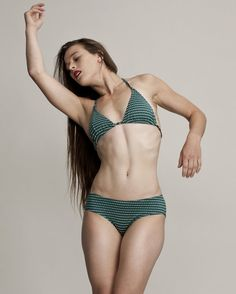 Sea Green Triangle Bikini and High Waisted Bikini Bottom, Unique Swimwear, Triangle Bikini Top