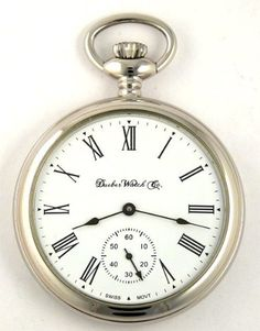 Dueber Swiss Mechanical Pocket Watch, High Polish Chrome Open Face Case, Assembled in USA! - Listing price: $699.99 Now: $599.96