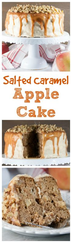 Salted Caramel Apple Cake- two layers of fresh apple cake with cinnamon and other spices, covered in a salted caramel cream cheese frosting, more caramel, and toasted walnuts! From Boston Girl Bakes Apple Desserts, Fall Desserts, Apple Recipes, Baking Recipes, Cake Recipes, Dessert Recipes, Elegant Desserts, Frosting Recipes, Baking Ideas