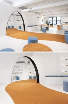 Design Detail – Half-Circle Cut Out Spaces Were Designed For Stools To Fit Into The Displays In This Shoe Showroom - Design Detail – Half-Circle Cut Out Spaces Were Designed For Stools To Fit Into The Displays In T - Showroom Design, Shop Interior Design, Cafe Design, House Design, Design Design, 2020 Design, Display Design, Kindergarten Interior, Kindergarten Design