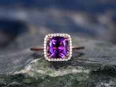 BBBGEM offers Amethyst Engagement Rings,see our Amethyst engagement ring set rose gold in round,oval,cushion,princess,emerald cut,pear,heart shapes.