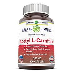 Amazing Nutrition Acetyl LCarnitine Hcl Veggie Capsules  500mG Mitochondrial Energy Optimizer Tablets  120 Easy to Swallow Pills Per Bottle * You can find more details by visiting the image link.