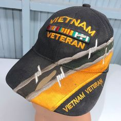 75e5e990b49  Vietnam Veteran Vintage  Military Adjustable Baseball Cap Hat Barb Wire   EagleCrest BaseballCap Vietnam