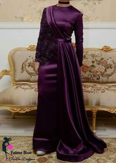 Islamic Fashion, Muslim Fashion, Modest Fashion, Fashion Dresses, Hijab Evening Dress, Hijab Dress Party, Evening Dresses, Satin Dresses, Bridal Dresses