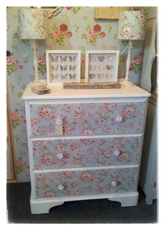 Painted pine chest of drawers with decoupaged drawer fronts in fabric
